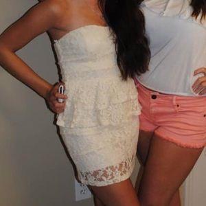 Dresses & Skirts - Cream, lace, floral print, strapless dress